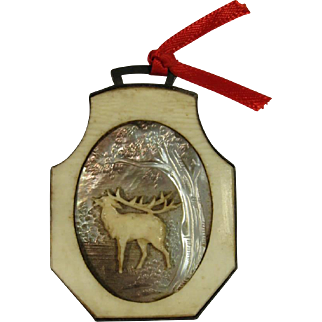 Elk Badge Hand Carved, Mother of Pearl and Silver, C.1890-1920.