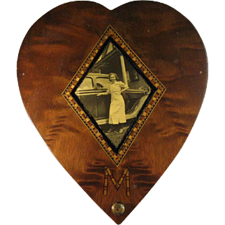 Wood Marquetry Inlaid Sweetheart Box, Photo 1935 Ford Tudor.