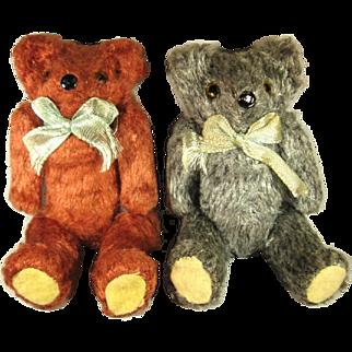 Two Vintage Miniature Teddy Bears, Mohair Squeakers C.1920.