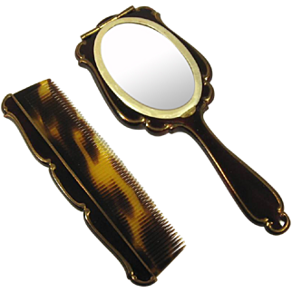 Enameled Hand Held Mirror Compact and Comb Set, C.1930.