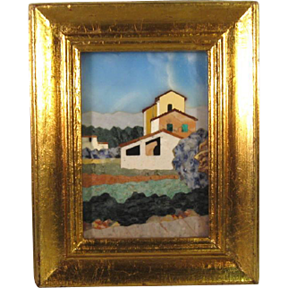 Pietra Dura Hard Stone Framed Mosaic Scenic Plaque.
