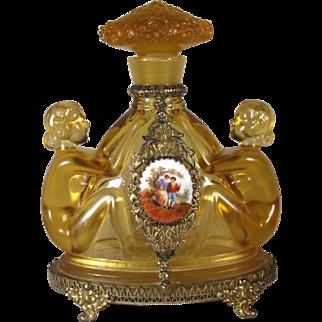 Deco Czech Jeweled Figural Nudes Perfume Bottle, C.1930.