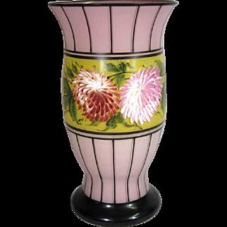 Czech Hand Painted Glass Vase, Deco C.1930.