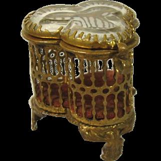 Miniature Antique Brass and Glass Jewelry Trinket Box.