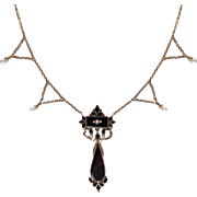 Victorian Mourning 14K Gold Festoon Necklace with Onyx and Pearls