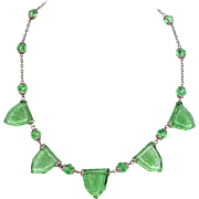 1920s Art Deco Green Reverse-carved Glass Necklace