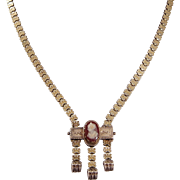 Victorian Gold Filled Book Chain and Sardonyx Cameo Necklace