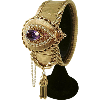 1950s Victorian Revival 14K Gold Garter Bracelet with Tassel and Amethyst & Pearl Locket