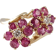 Vintage 14K Gold, Pink Sapphire and Diamond Flower Ring