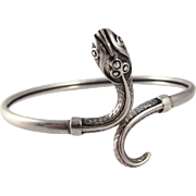 1920s Art Deco Sterling Silver Snake Bangle Bracelet