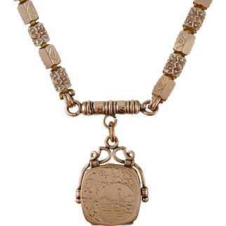 1870 Victorian Reversible Tricolored Gold Filled Bookchain & Locket