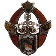 Victorian Sterling Silver Scottish Crown and Shield Brooch with Agate and Citrine from 1874