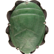 1940s Eisenberg Original Aztec Brooch Sterling Silver with Green Onyx Mexico