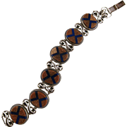 Italian Arts and Crafts Goldstone and Lapis Lazuli Pietra Dura Sterling Silver Bracelet