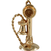 1950s 14k Gold Moveable Charm Old Fashioned Candlestick Telephone