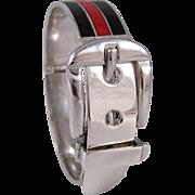 1960s Gucci Sterling Silver and Enamel Buckle Bracelet