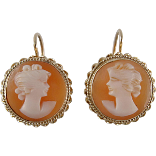1970s Shell Cameo Earrings in 14K Gold