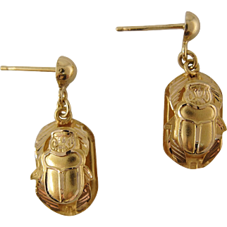 1940s 18K Gold Egyptian Revival Scarab Earrings