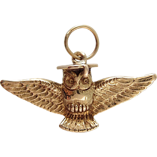 "14k Yellow Gold Yale Record ""Old Owl"" Charm with Enamel circa 1915"