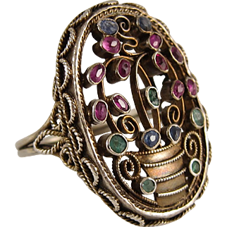 1920s Silver Vermeil Giardinetti Ring with Ruby, Emerald, and Sapphire