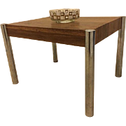 Vintage Mid Century Danish Modern Chrome & Laminate End Side Coffee Table
