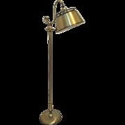 Vintage Brass Floor Lamp Reading Swivel Pierced metal tole gold shade