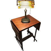 Vintage Tiffany Style Bankers Stained Glass Desk Lamp