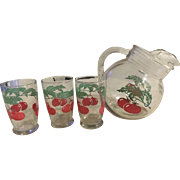 Vintage 1950's Set Tomato Juice glasses & Ball Tilt Pitcher Ice Lip Anchor Hocking