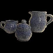 Vintage Milk Pitcher Creamer And Sugar Set Blue Spongeware KNOBLER Stoneware