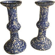 Stangl Blue Spongeware Town & Country LARGE Candlestick Candle Holders MINT!