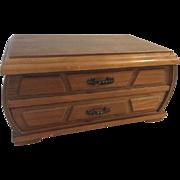 Vintage London Leather Solid Teak Wood Jewelry box Mid Century