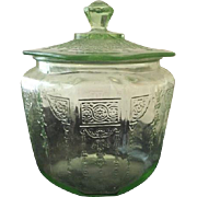 Anchor Hocking Depression Glass Green Princess Cookie Jar