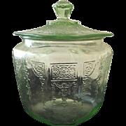 Anchor Hocking Depression Glass Green Princess Cookie Jar
