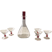 2-Tone Ruby red clear Glass Decanter Cordial Glasses Barware Set Liquor Wine Vintage