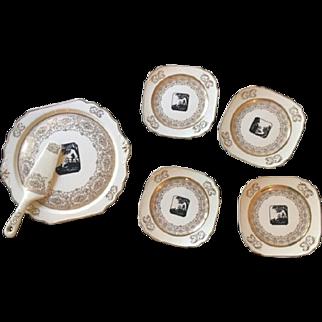 """Vintage Art Deco Cake Set 12"""" Plate with server & 4 Dessert Plates 22k gold"""