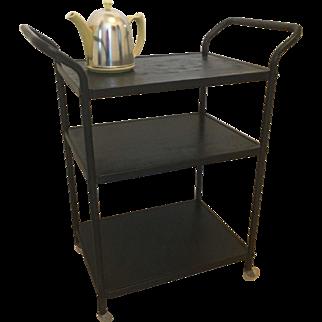 Vintage Mid Century COSCO 3 Tier Serving Utility Cart Kitchen Black
