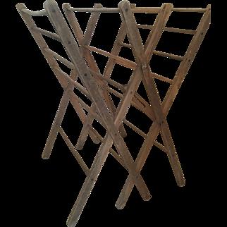 Huge Antique primitive wood clothes drying rack folding herb/clothes/quilt