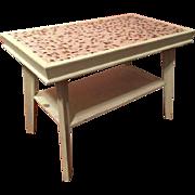 Vintage Mid Century Modern Wood & Mosaic Tile Top Coffee Cocktail Table