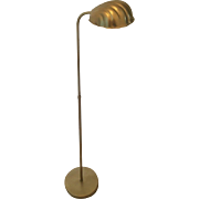 Vintage Mid Century Brass Swivel Telescopic Floor Lamp Clam Shell Shade by Alsy USA