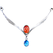 Native American Mediterranean Coral/ Turquoise Navajo S. Silver Necklace