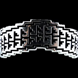 Vintage Native American Alvin Tso Silver Bracelet Signed