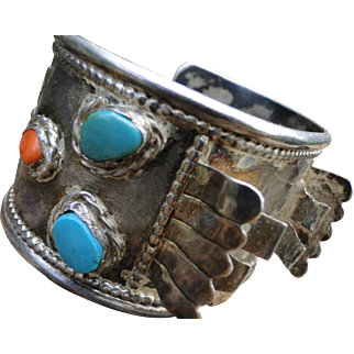 Navajo Vintage Sterling Silver Morenci Turquoise and Coral Cuff/Watch 1960'S