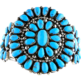 Vintage Navajo  Turquoise Coin Silver Cluster Cuff