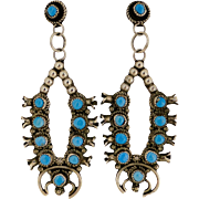 Vintage Navajo Turquoise Squash Blossom Earrings