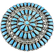 Navajo Cluster Turquoise Pin By Larry Moses Begay Sterling S.