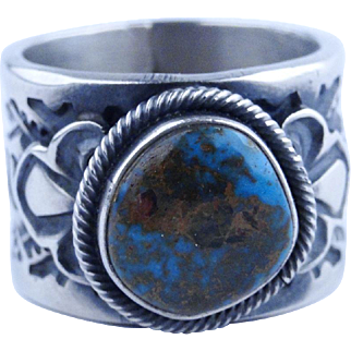 Navajo Gary Reeves Top-Gem Bisbee Turquoise Ring Sterling Silver