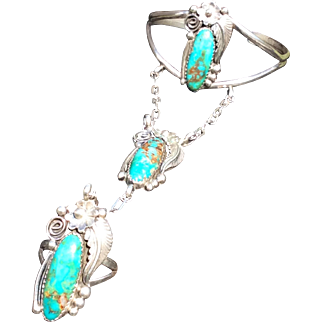 Native American Sterling Silver Royston Turquoise Slave Bracelet