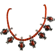 Collectible Native American R. Gee Necklace, Coral, Handmade  Sterling Silver