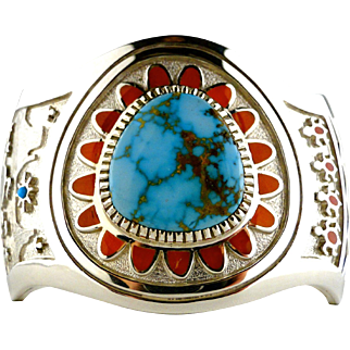 Vernon Haskie Lone Mountain Turquoise & Coral Bracelet