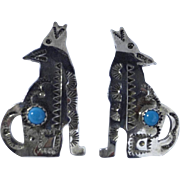 Vintage 925 Silver Turquoise Earrings Howling Coyotes Hallmarked